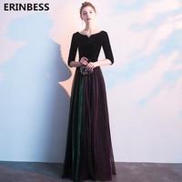 Vestido De Festa Half Sleeve Evening Dresses Robe De Soiree 2019 Floor Length Party Dress Scoop Neck A line VELOUR Evening Dress