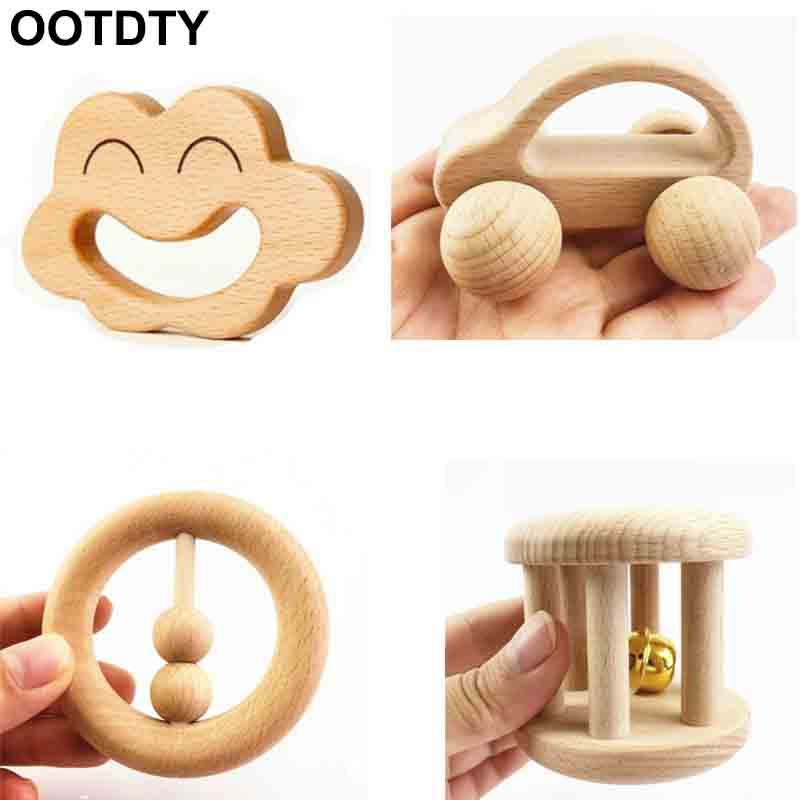 No Paint Nursing Wooden Teether Wooden Rattles Baby Toys Puzzle Toys Newborn Toddler Infant Gift