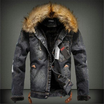 2017 Mens Denim Jacket with Fur Collar Retro Ripped Fleece Jeans Jacket and Coat for Autumn Winter Men's Jackets & Coats