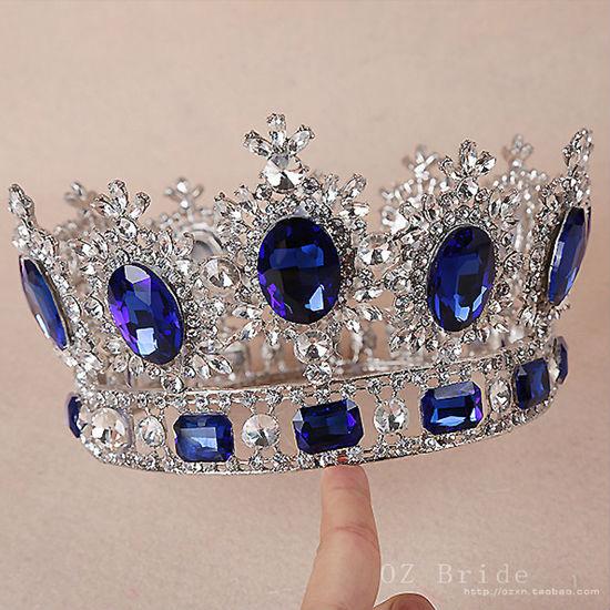 big European royal crown golden rhinestone imitation ruby tiara super large quinceanera crown wedding hair accessories crown (4)