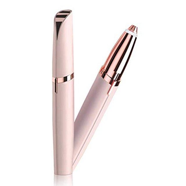 Mini Elektrische Wenkbrauw Trimmer Lipstick Wenkbrauwen Pen Haar Remover Pijnloos Eye brow Scheermes Epilator met LED Licht OPP Pakket