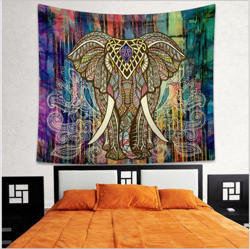 Elefante indiano Arazzo Aubusson Colorato Stampato Decor Mandala Religioso Boho Parete Tappeto Spiaggia Della Boemia Coperta Più Il Formato