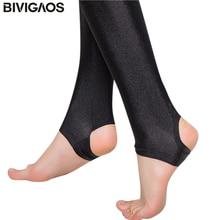 BIVIGAOS Summer Womens Colourful Super Elastic Slim Leggings Chinlon Shiny Legging Luster Foot Pants Black Skinny Leggings Women
