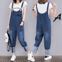 5xl plus size denim jeans panty women spring summer style autumn 2017 overalls thin straps jumpsuits denim pants female Q0067