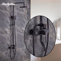 New Black Bathroom Shower Set with Shower Head Hot Cold Water Tap Shower Mixer Handle Shower Barss