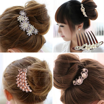 Fashion Pearl Flower Hair Combs Hairpin Kanzashi Accessories For Women Girls Bun Hair Clips Pin Styling Tools   Headwear   Ornaments