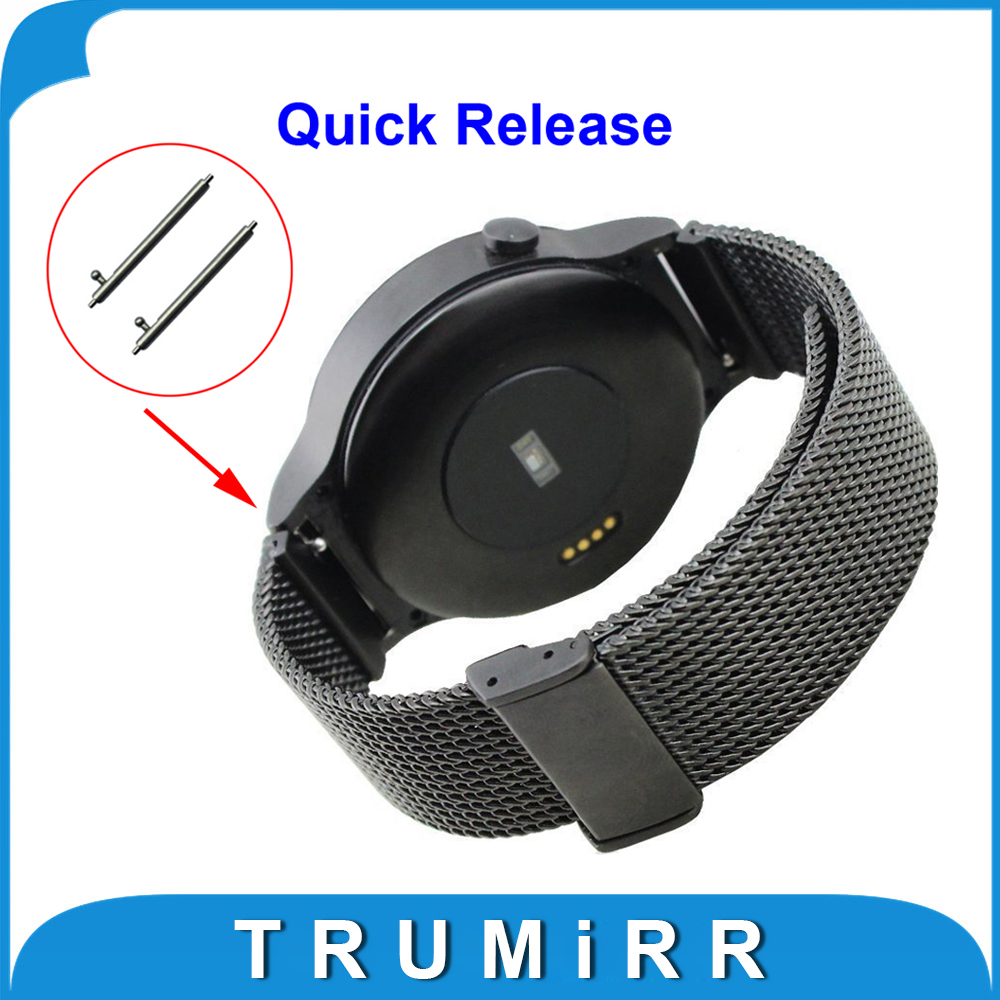 18mm Milanese Quick Release Watchband for Huawei Watch 1st Gen / Huawei Fit Mesh Stainless Steel Band Wrist Strap Bracelet Black 22mm milanese watchband tool spring bars for pebble 1 1st gen smart watch band mesh stainless steel strap wrist bracelet