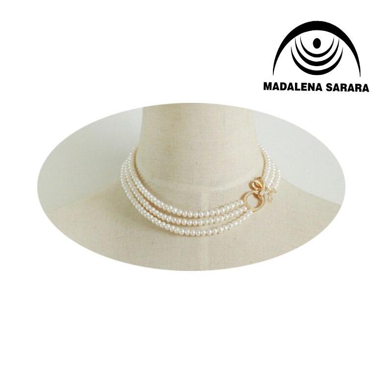MADALENA SARARA AAAA collier de perles d'eau douce avec Zircon incrusté fleur fermoir trois rangées collier de perles 6-7mm perle d'eau douce