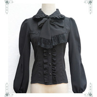 SZ S XL Black White Lace Full Sleeve Chiffon Full Sleeve Shirts Women Elegant Princess Empire