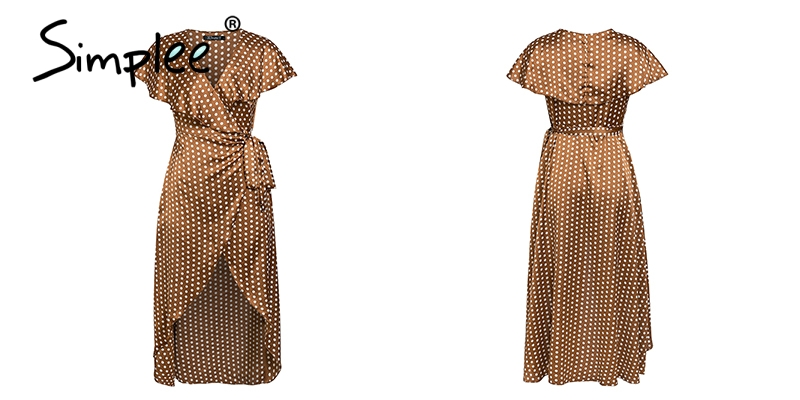 Simplee Vintage dots print satin women summer dress 19 Elegant v neck wrap sashes dresses Sexy female party long dress 17