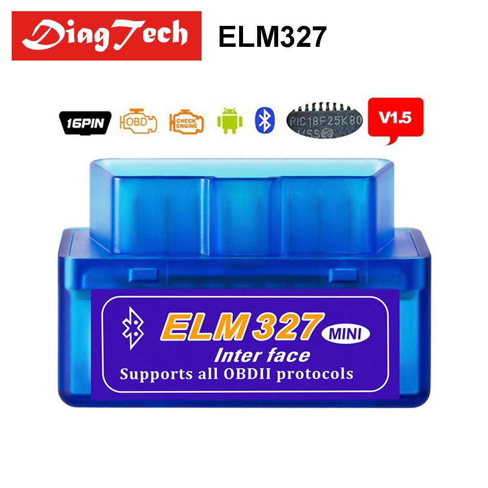 Echt 25K80 Chip ELM327 V1.5 Mini ULME 327 v 1,5 Bluetooth Adapter OBD2/OBDII Diagnose-Tools Ulme-327 für Autos Android Drehmoment