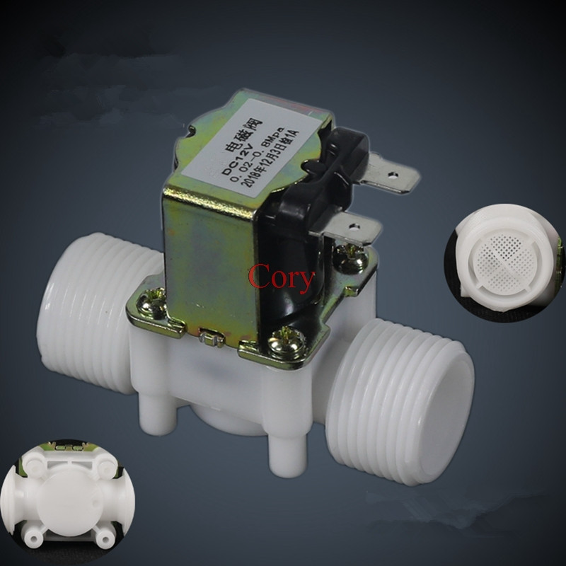 1PC 3/4 BSP Male Thread Electric Plastic Solenoid Valve Water Drain Valve 12V 24V 220V Normal Closed Inlet Water 0.02-0.8Mpa