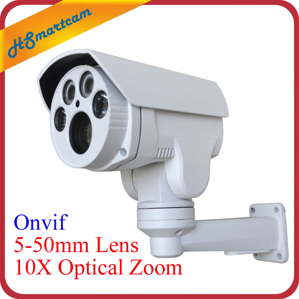 HD 1080P 2.0MP IP Camera 10X Optical Zoom 4 LED IR Night Vision Mini PTZ Security Camera P2P Onvif 5-50mm Lens PTZ Bullet Camera 1080p 5 inch 10x optical zooming lens mini ptz ip camera