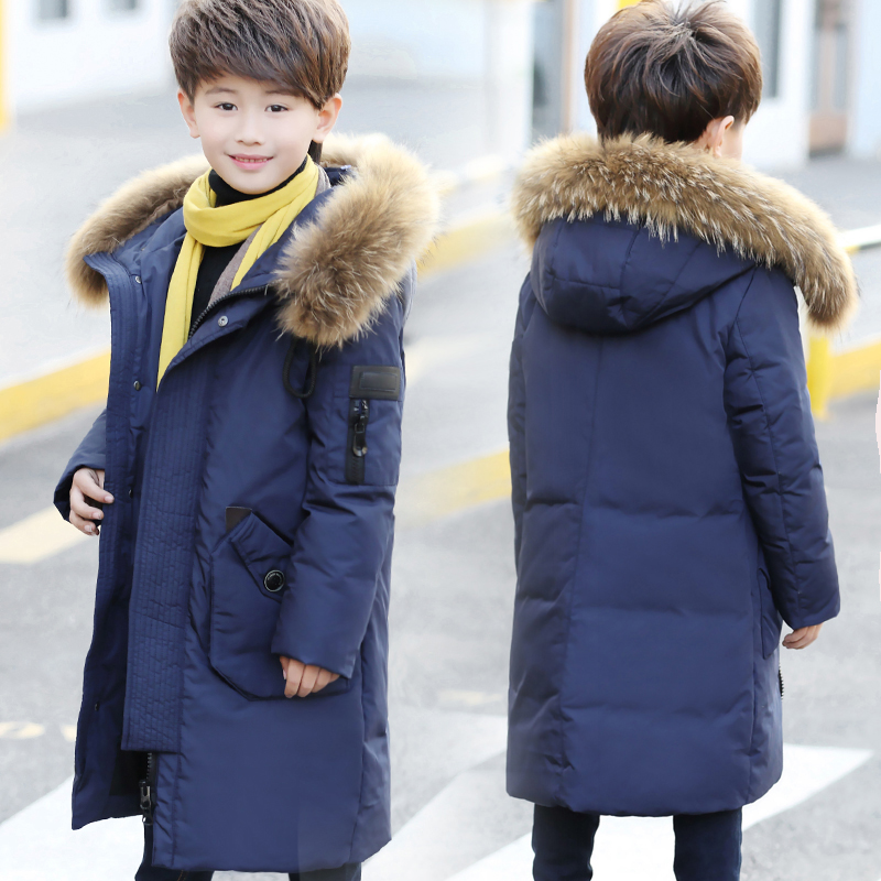2018 Warm Outerwear Hooded Coat Children Jackets Boys Winter Duck Down Coat Baby Thick Coats Real Fur Collar Overcoat -30 Degree boys winter jacket camouflage coats hooded down coat fur collar overcoat cotton snowsuit teenages outerwear wua791702