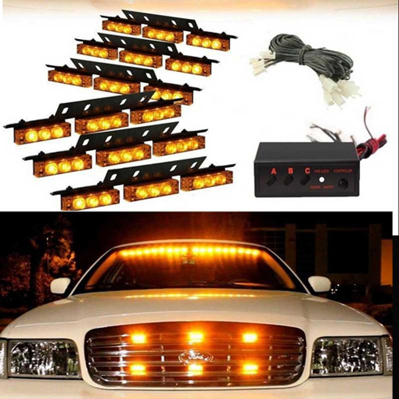 AMBER New 51036-6 Emergency Vehicle 6*9 54 LED car warning    Strobe  Flash Emergency Firemen  poice light 3 Mode 12V