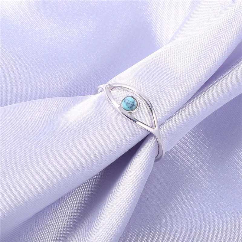 Blue Turquoise 925 แหวนเงินสเตอร์ลิงสำหรับสตรี Blue Eye Love แหวนประณีตโอปอลหมั้นงานแต่งงานแหวน Love ของขวัญ