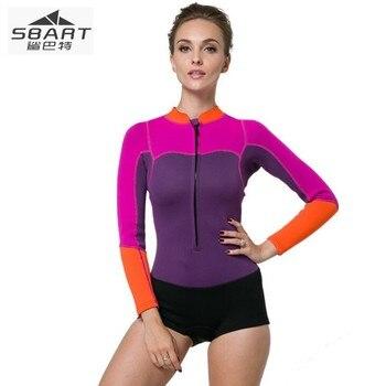 e115c87a56f6 Sbart 2mm traje de buceo de neopreno cálido invierno natación mujer ropa de  manga larga snorkeling conjoinedspa swims