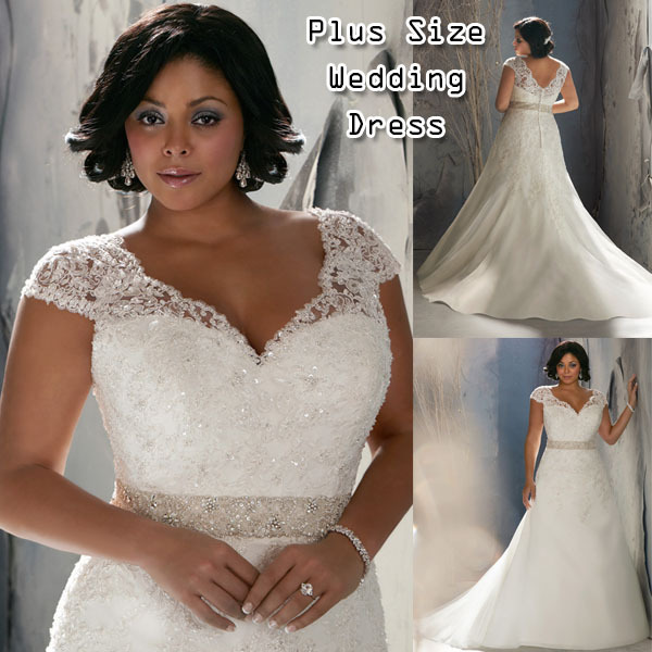 97592e86d56 2015 Bridal Wedding Dress Plus Size Court Train Cap Sleeve V-neck A-line  Plus size Wedding Dress for Big Girl Made in China