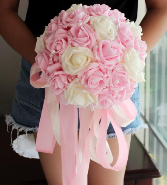 Wedding bouquets flowers artificial flower rose bouquet white bridal ...