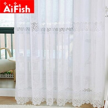 White Guaze Embroidery Balcony Soluble Linen Curtains Gauze European Minimalist Style Curtains Voile for Living Room AF001-5