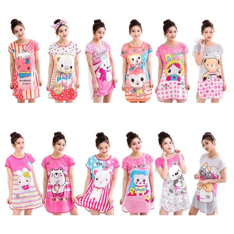 Women Girls Short Sleeve Milk Fiber Nightdress Student Cute Cartoon Animal Double Sided Print Sleepwear Side Split Loose Pajamas