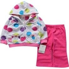 Nouvelle arrivée bébé fille vêtements mis hiver polaire vêtements de sport Polka Dot manches longues sweat à capuche pantalons enfants fille Outfit costume ensembles