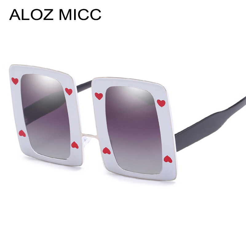 Women's Sunglasses Hot Sale Aloz Micc Women Oversize Rectangle Sunglasses Men 2018 Fashion Heart Decoration Trend Square Eyewear Uv400 Q648 We Take Customers As Our Gods