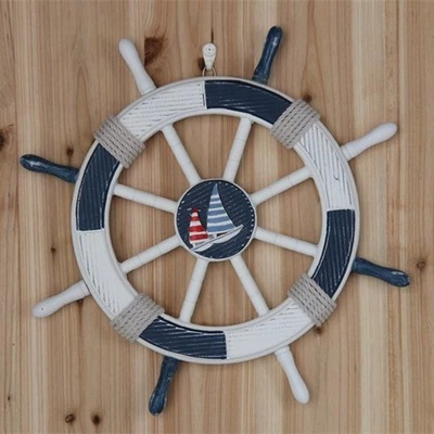 Mediterranean style decoration bar wall hanging marine/ ship rudder large wooden helm mural 45CM