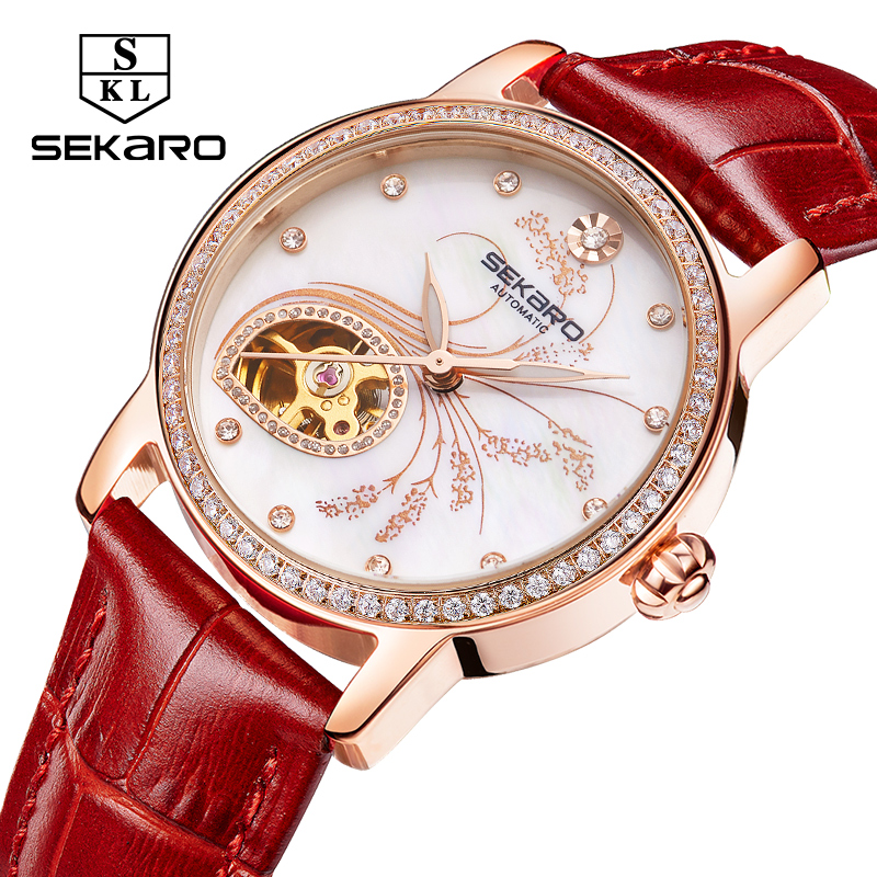 SEKARO New Fashion watch Mechanical Women's Top Quality Flower Lavender Pattern Lady Watch Women Montre Femme Relogio Feminino цена 2017