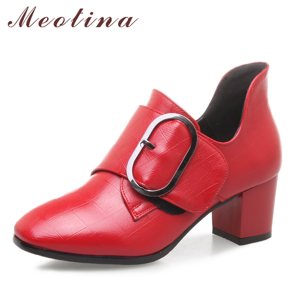 Meotina Women Pumps High Heels Ladies Shoes Red Block Heel Buckle Female Pumps Spring Plaid Fashion Shoes Black Big Size 33-43 meotina genuine leather women shoes female plaid party shoes block heel bow strap high heels kid suede ladies pumps 2018 spring