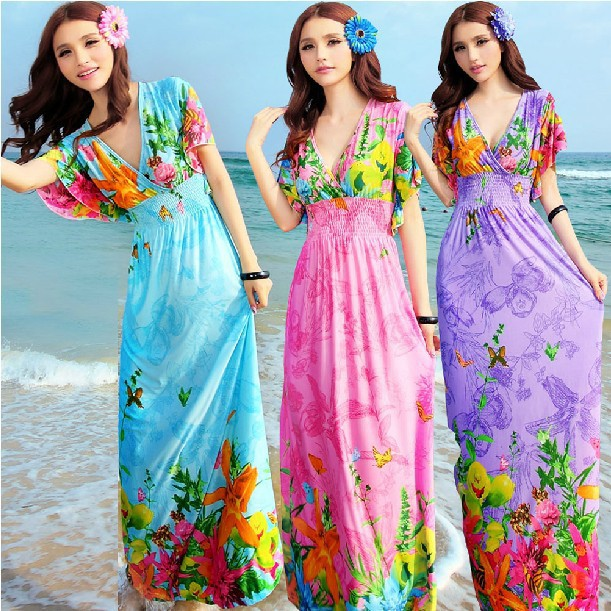 Plus Size Vestidos Casual Summer DressWomen Sexy Bohemian Thin Silk ...