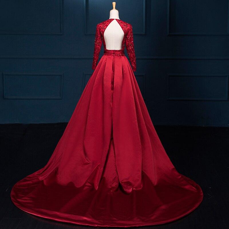 Luxury Red Arabic Evening Dress Lång 2018 Applique Bead V Neck Lång - Särskilda tillfällen klänningar - Foto 3