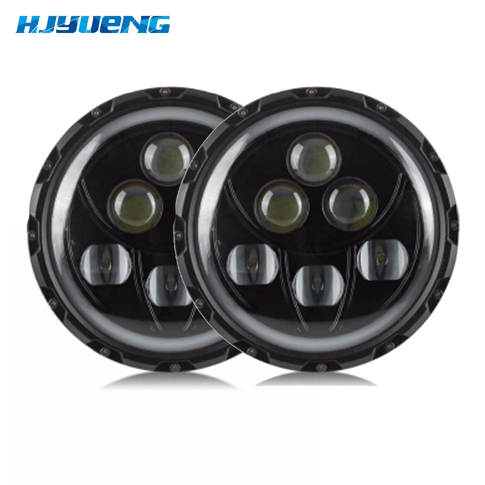 Round for jeep 7inch LED Headlight White DRL Halo Angel Eyes For J eep Hummer Harley 7inch LED Headlight For J eep Wrangler JK