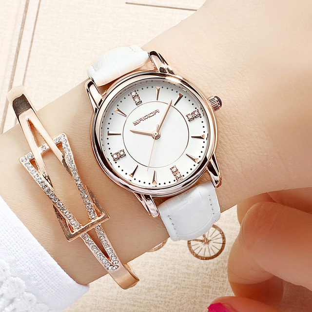 SANDA 215 Leather Women Watches Ladies Luxury Brand Crystal Wrist Watch Dress Female Clock Relogio Feminino Montre Femme
