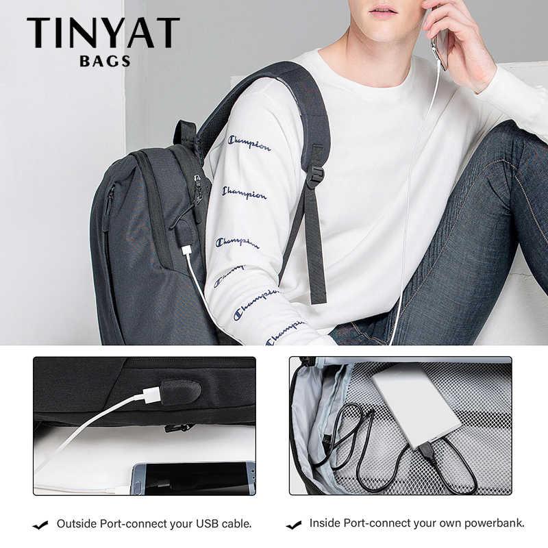 TINYAT мужской рюкзак для ноутбука USB для 15,6 дюймов школьный рюкзак, рюкзак для путешествий для подростков водонепроницаемый 90'c Открытый Рюкзак Mochila черный