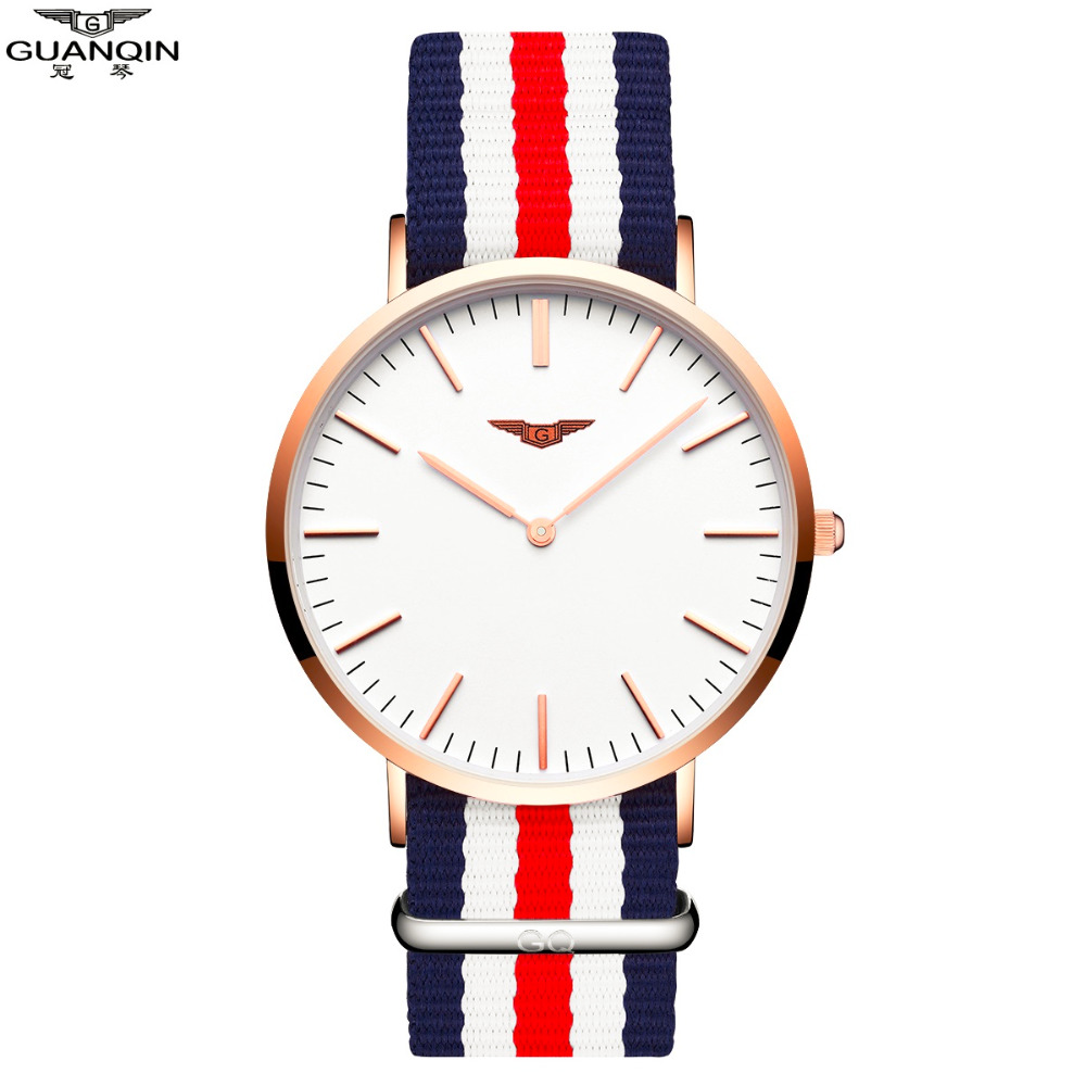 Watches Women With Canvas Strap GUANQIN Female Quartz Watches Simple Fashion Couple Watch Men Women Clock relogio feminino бинокль veber 8x25 wp желто черный