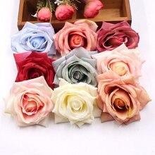 4ピース10センチリアルな不織布人工ローズ花束用diy花輪ギフトボックススクラップブッキングフェイク花パラ結婚式の装飾
