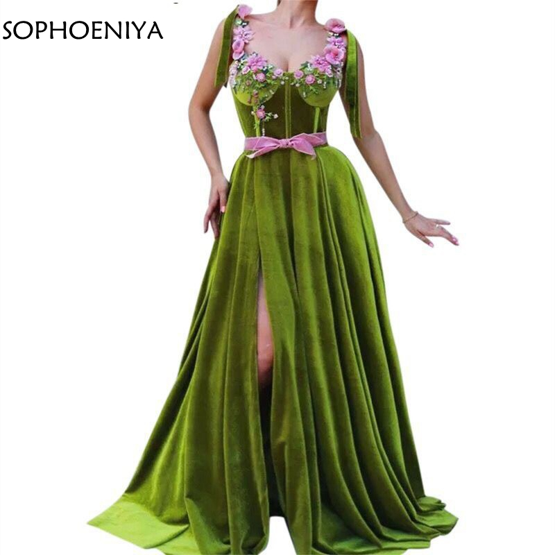 New Arrival Velour Abendkleider Arabic Green Dubai Kaftan Evening Dress 2019 Sexy Abiye formal dresses Vestidos de fiesta largos