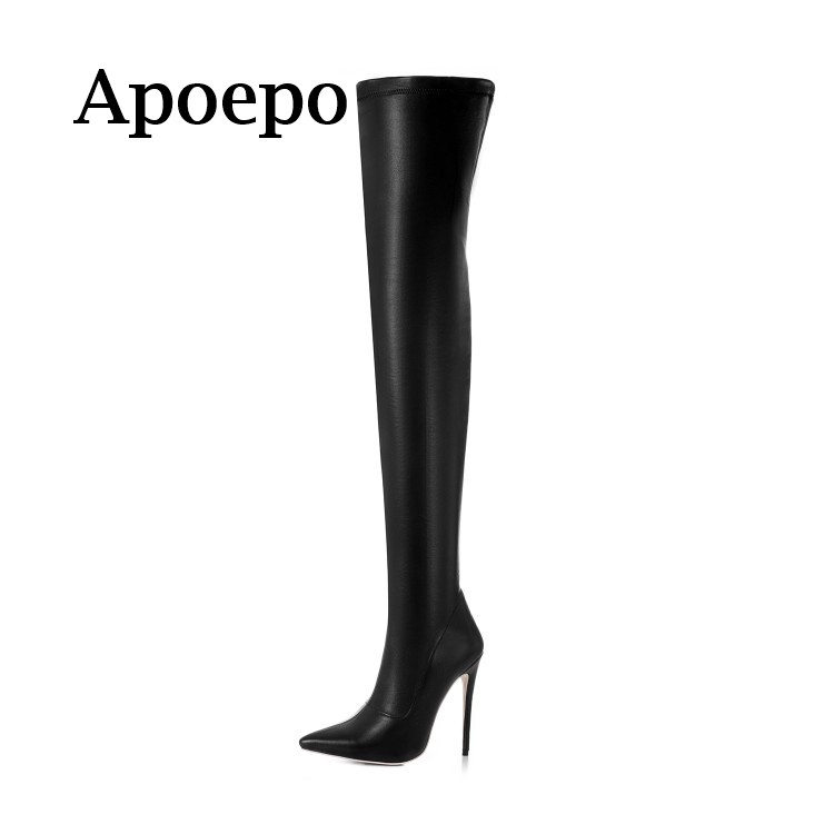 Apoepo Brand 2018 Hot Selling Black leather high heel boots sexy pointed toe over the knee boots woman thigh high boots hot selling black suede side lace up high heel boots pointed toe stiletto heel shoes woman boots over the knee riding boots