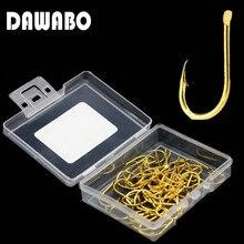 DAWABO 50 Pcs boxed fishhook High carbon steel  HOOK Golden color #3-#13 Jig Big Hook Corrosion Fishing Hooks Fishing Tackle