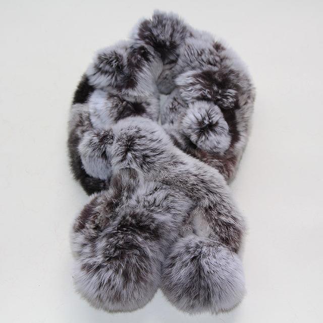 Frete grátis real rex coelho cabelo coelho rex cachecol cachecol cachecol de pele das mulheres anel de lenço de pescoço