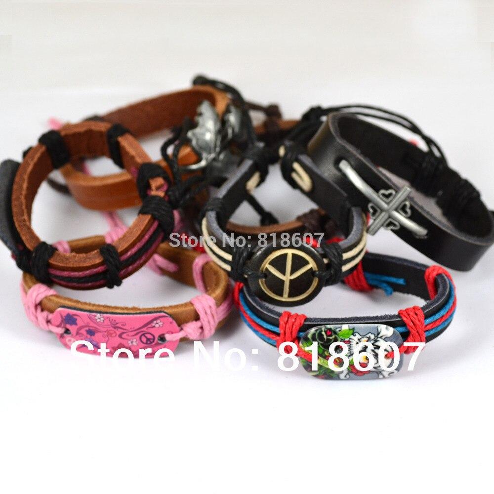 Jiayiqi Genuine Leather Bracelet Bangles Peace Butterfly Skull Cross Leaf  Mix Charm Bracelet Wrap Hemp 12pcs