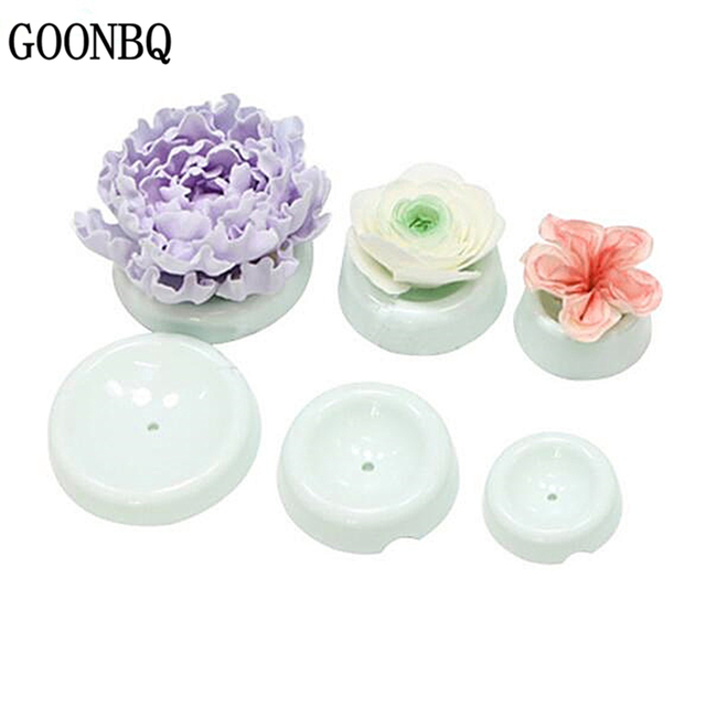 GOONBQ 6 pcs/set Cake Flower Drying Mold Plastic Round Shape Cake Fondant Flower Drying Stands Button Flower Forming Dry Moulds