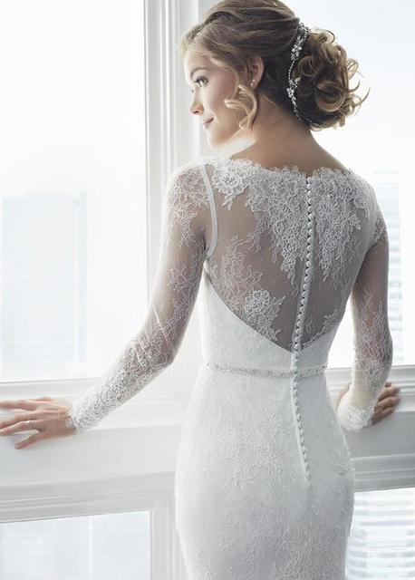 LORIE White Mermaid Wedding Dresses 2019 vintage Lace Appliques Bride Dress Long Sleeve robe de mariee Illusion Wedding Gowns 3