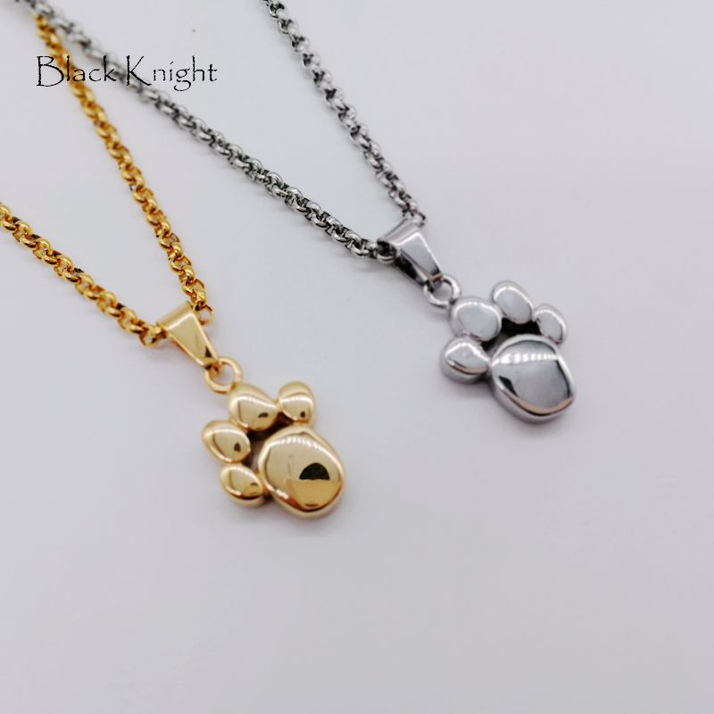 Black Knight Gold color stainless steel cute dog paw pendant necklace women elegant animal paw necklace fashion BLKN0717 in Pendant Necklaces from Jewelry Accessories