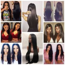Fast Shipping Black Long Silky Straight Soft Hair Brazilian Synthetic Lace Front Wig Heat Resistant Cheap Wigs For Black Women