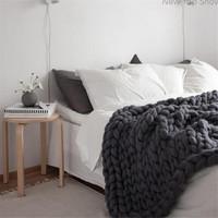 New Top Show Chunky Knit Blanket Throw Wrap Arm Knit From 100% Iceland Yarn Wool Extra Warm