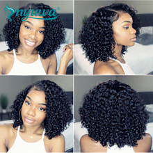 NYUWA Short 13×6 Lace Front Human Hair Wigs Pre Plucked With Baby Hair Curly Brazilian Remy Hair Lace Front Bob Wigs 10″-14″