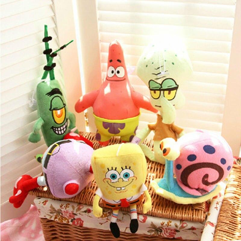 6PCS <font><b>Spongebob</b></font> <font><b>Set</b></font> <font><b>Stuffed</b></font> <font><b>Plush</b></font> Sponge Bob/<font><b>Patrick</b></font>/<font><b>Crab</b></font>/Plankton/Octopus/Snail Dolls Kids Toys Best Brinquedos For Children
