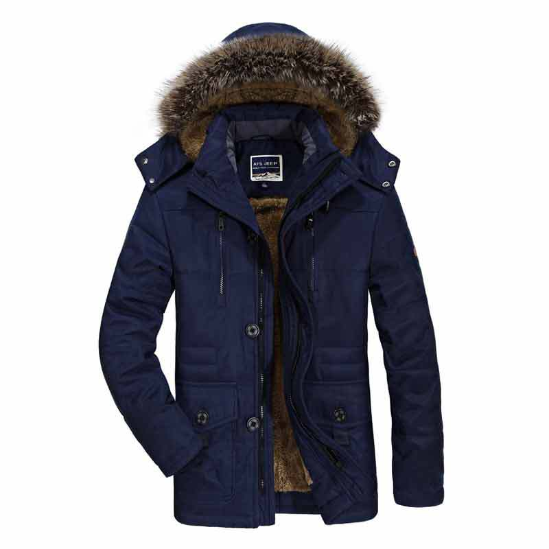AFS JEEP Winter Jacket Men Big Size Windproof 2017 Single Breasted Solid Hood Warm Coat Thick Cotton-Padded Famous Brand Thicken bert pulitzer men s big textured solid sport coat